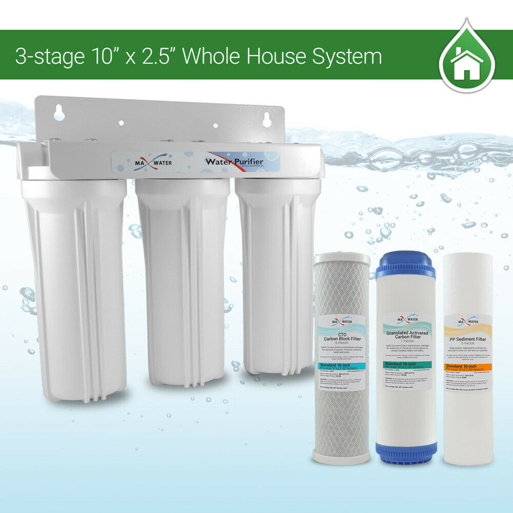 Whole House Water Filter System 2.5  x 10  Weiß 3 Stage Filtration 3 4  Inlet