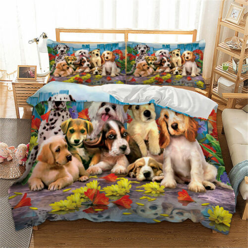 Lovely Animal Duvet Cover with Pillow Case Quilt Cover Bedding Set All Size Dogs