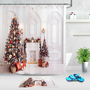 Christmas Trees Fireplace in Baroque Style Shower Curtain ...