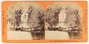 Suisse Caduta Del Giessbach Brienz Foto Stereo PL56L1n Vintage Albumina c1868
