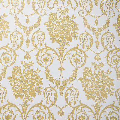 White and Gold Damask PVC Vinyl Wipe Clean Tablecloth Round Rectangle Square