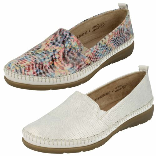 Ladies Remonte D1902 White Or Multi Leather Casual Slip On Shoes