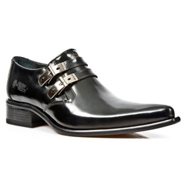 Newrock New Rock 2246-s20 Nero Smart scarpe Cuoio West acciaio fibbia scarpe Smart e71d7f