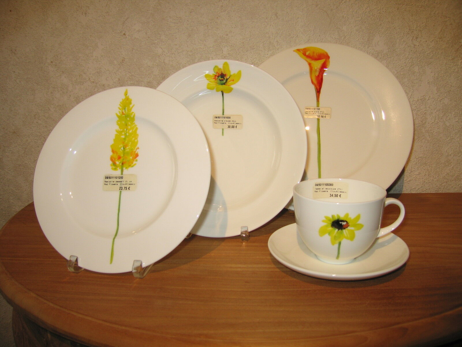 CLOU & CLASSIC NEW Gelb Flowers Set 3 Assiettes + 1 Tasse 60113
