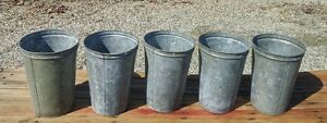 4 OLD GALVANIZED Maple Syrup Sap Buckets TAPERED w/ DOUBLE RIM