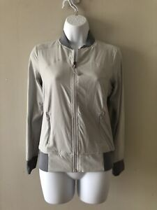 Athleta Women's Light Gray Full Zip Bomber Jacket Size XS