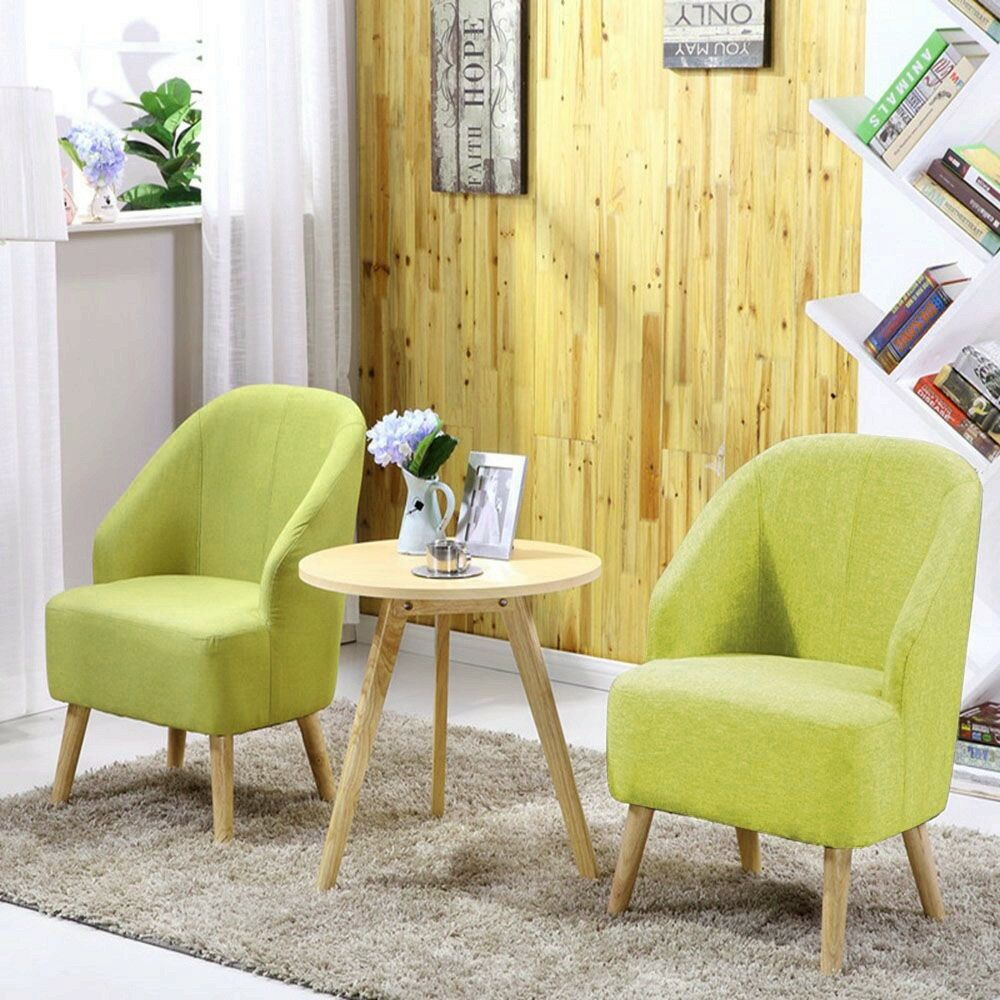 Set Of 2 Space Saving Fabric Club Chair Accent Chairs Home