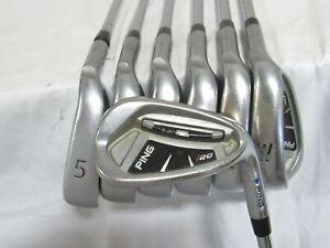 Used Ping i20 Blue Dot Iron Set 5-W,U Stiff Flex Steel Shafts