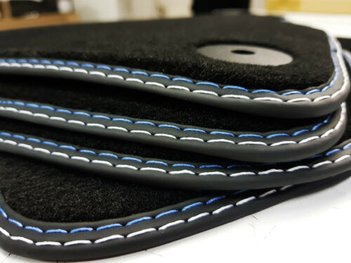 Fußmatten für Audi  A4 S4-B8-8K Original Qualität Doppelnaht blau-silber Neu !