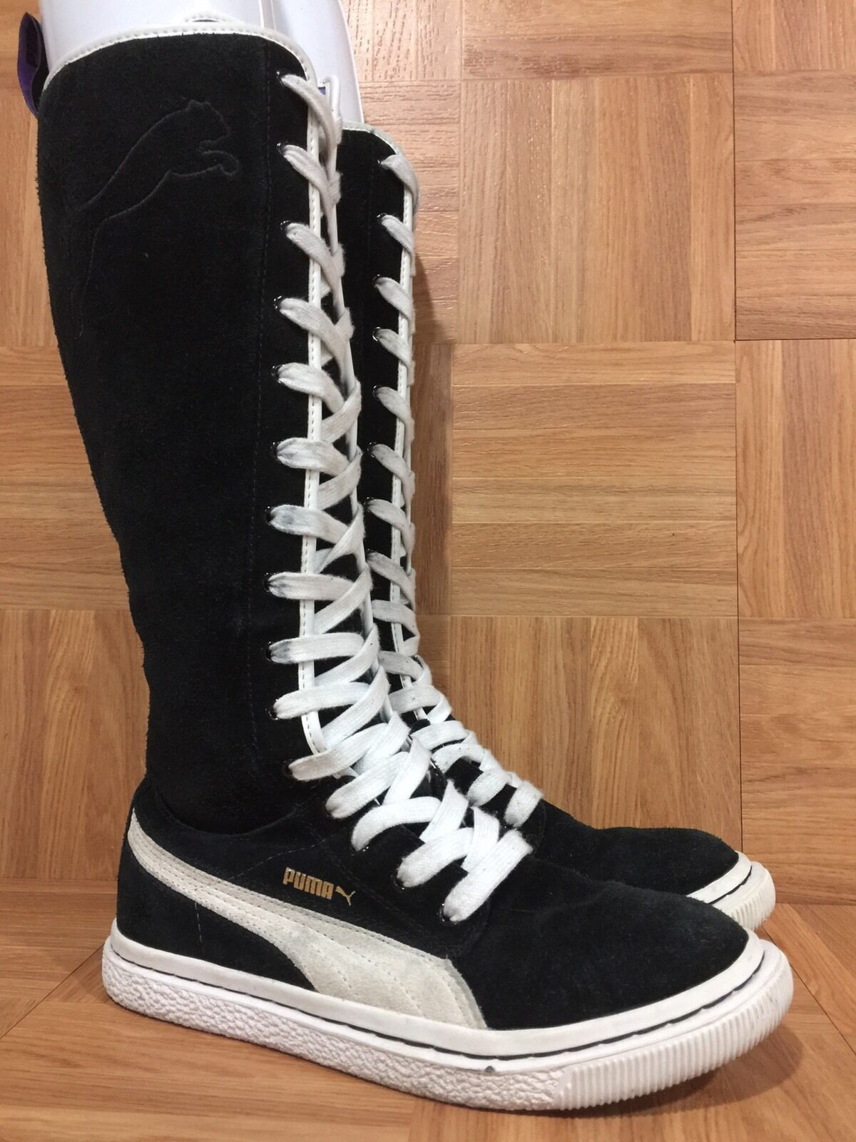 RARE Puma Dr. Clyde Women's Black Tall Sneaker Boots Zippered Sz 7.5 Laced LE