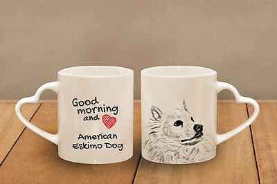 "mug /""Good morning and love CA heart/"" American Eskimo Dog ceramic cup"