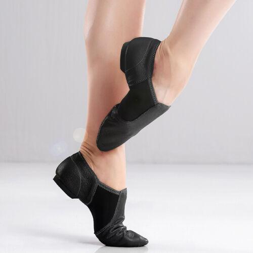 Girls Women Genuine Leather Jazz Dance Shoes Tan Black Antiskid Sole Sneakers
