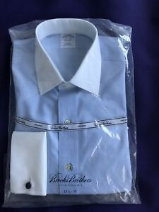 Brooks Brothers Men/'s Dress Shirt Extra Slim Fit Non-Iron Size 15.1//2-35 Blue