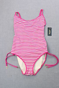 d5c53ee005 JUICY COUTURE PINK   WHITE STRIPE TIE SIDE MAILLOT ANA CAPRI ...