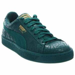 Puma-Suede-Crackle-Lace-Up-Mens-Sneakers-Shoes-Casual-Green