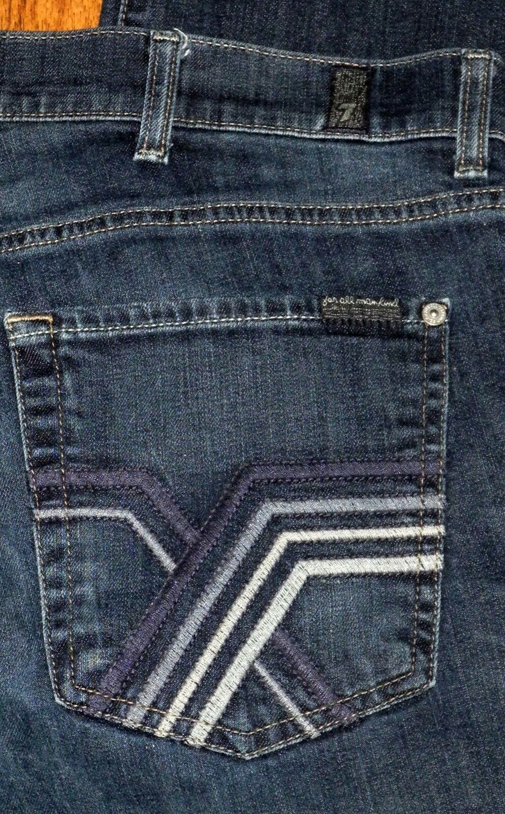 7 For All Mankind Standard Fit Mid Rise Boot Cut Men's bluee Jeans Sz 40x27 Short