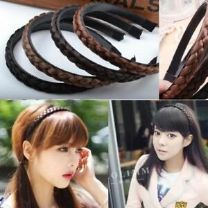 Womens-Braided-Synthetic-Hair-Plaited-Headband-Elastic-Hairband-Fashion-Trendy