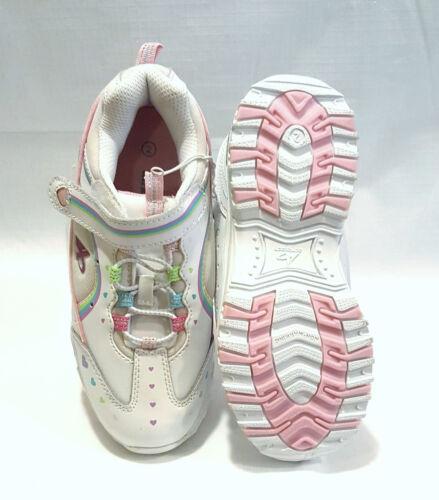 Girls White Leather Blinking Sneaker Shoes 2-3-4
