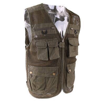 Outdoor Multi Pocket Fishing Mesh Vest Photography Travel Zipper Waistcoat L-4XL
