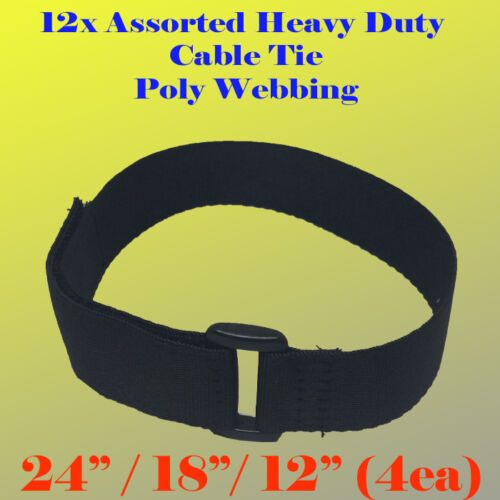 "12x Assorted 24//18//12/"" Heavy Duty Hook and Loop Fastener Cable Tie Straps"