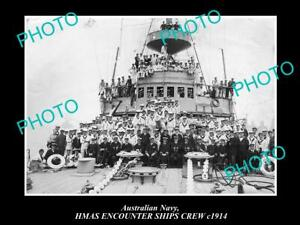 OLD-POSTCARD-SIZE-PHOTO-OF-AUSTRALIAN-NAVY-SHIP-HMAS-ENCOUNTER-SHIPS-CREW-1914