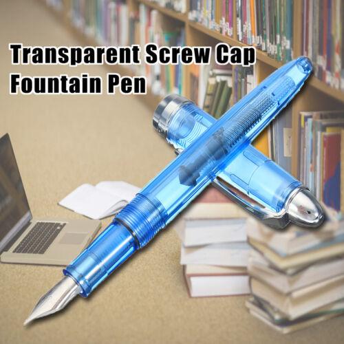 WING SUNG 9133 Transparent Screw Cap Fountain Pen Blue//Green Nib 0.38mm XmasGift