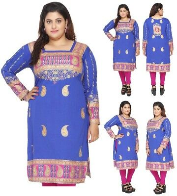 Women Party Indian Short Kurti Tunic Kurta Top Shirt Dress ECCO11 UK STOCK
