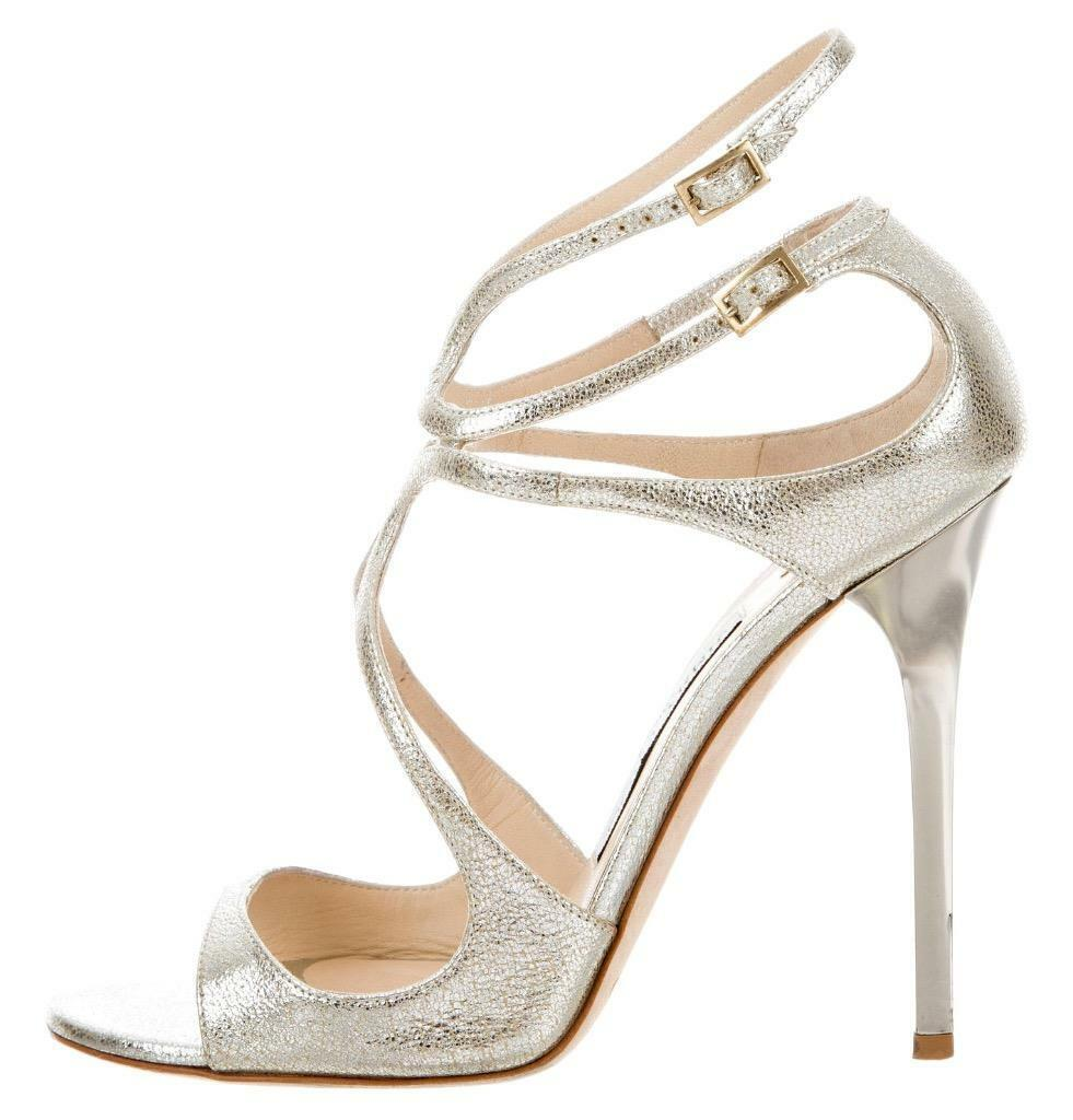850 JIMMY CHOO Metallic Champagne LANCE Size 37.5 Strappy Sandals Heels shoes