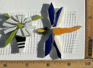 Flowers-In-Pot-amp-Flying-Dragonfly-Mosaic-Tiles-Broken-Cut-China-Tiles