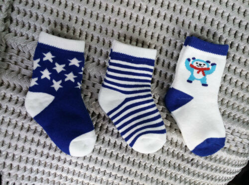 fits 0-1 years gift NEW. Set of 3 Baby Infant Boys Rich Cotton Ribbed Socks ..