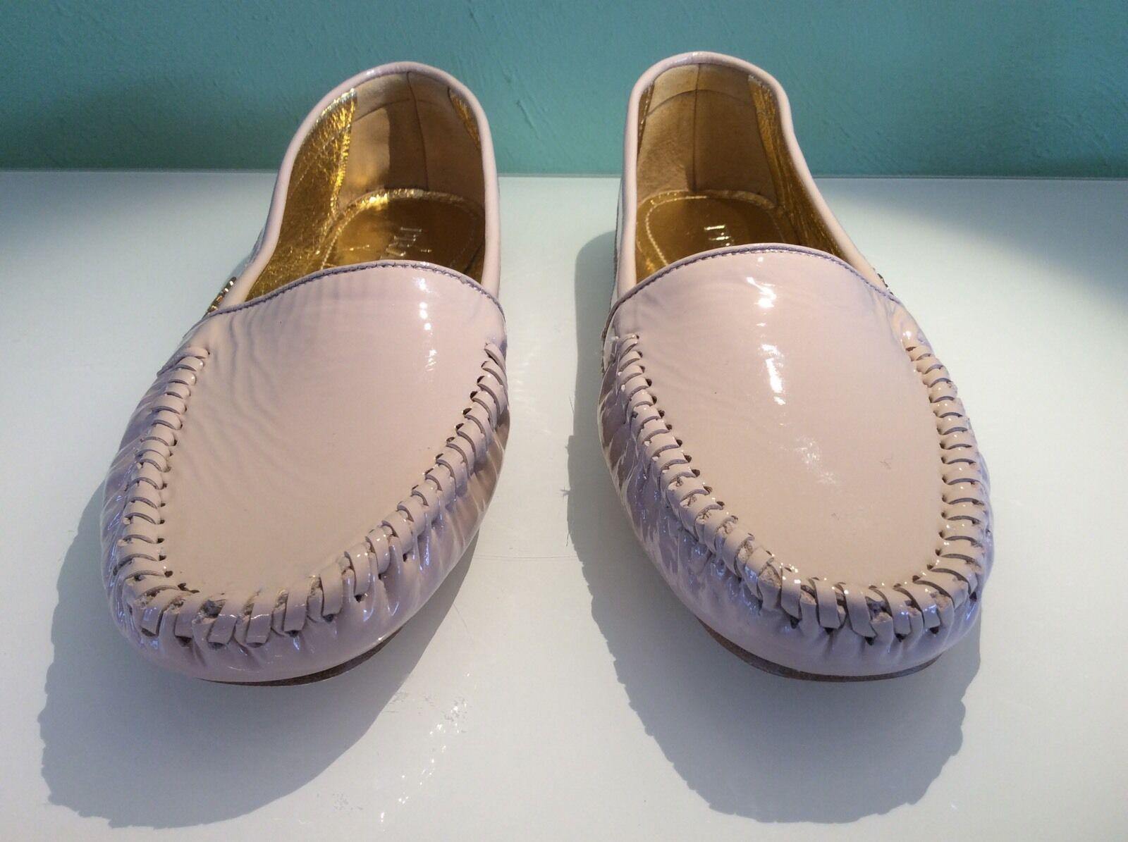New Prada Braided Patent Leather Moccsin Flat shoes (36)