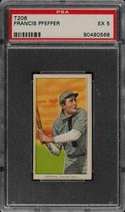 Rare-1909-11-T206-Francis-Pfeffer-Sweet-Caporal-350-460-Chicago-PSA-5-EX