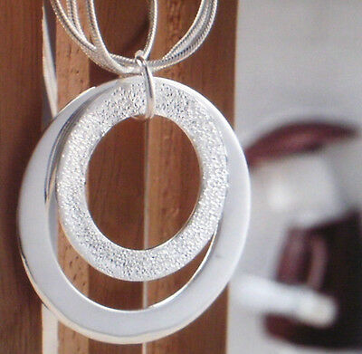 Diszipliniert Damen Halskette Kette Mit Anhänger Zwei Ringe Plattiert 0563 Durchblutung GläTten Und Schmerzen Stoppen Farbe Silber
