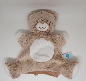 Doudou-marionnette-ours-TEX-CARREFOUR-marron-beige-chine-ventre-rond-blanc-NEUF