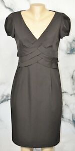 CALVIN KLEIN Black Short Sleeve Dress 8 Tiered Waist Lined Party Cocktail