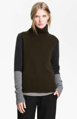$325 PRISTINE VINCE COLORBLOCK TURTLENECK CASHMERE WOOL SWEATER TOP M