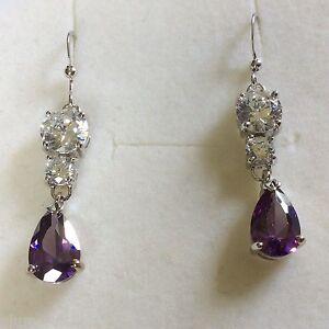 Z10-Purple-Amethyst-Sim-Diamond-Silver-Drop-Dangle-Earrings-White-Gold-GF-BOXD