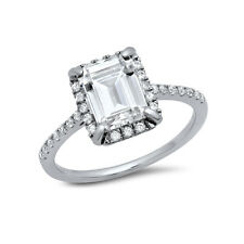 925 Sterling Silver Engagement Ring 4 carat Emerald Cut Cubic Zirconia Size 6