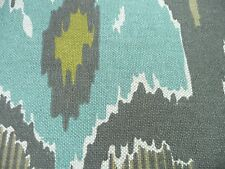 """Lacefield design Raja Quill Gray  Ikat Fabric 54"""" Upholstery  Linen Teal Yellow"""
