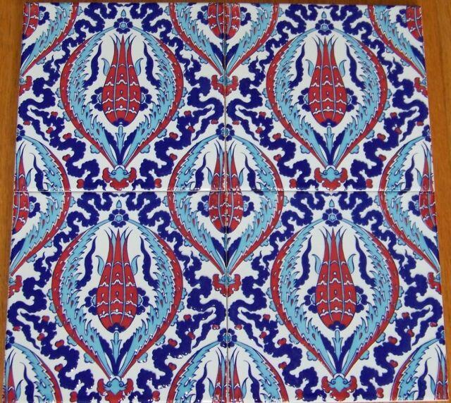 "Set of 12 8/""X8/"" Turkish Ottoman Iznik Red Tulip /& Geometric Pattern Ceramic Tile"