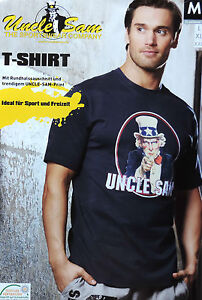 Uncle-Sam-T-Shirt-M-L-XL-Blau-Print-Herren-Shirt-100-Baumwolle-TOP-NEU