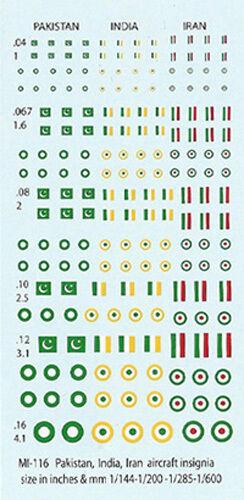 1//144-1//285 Decals MI-116 Pakistan India and Iran Aircraft Insignia