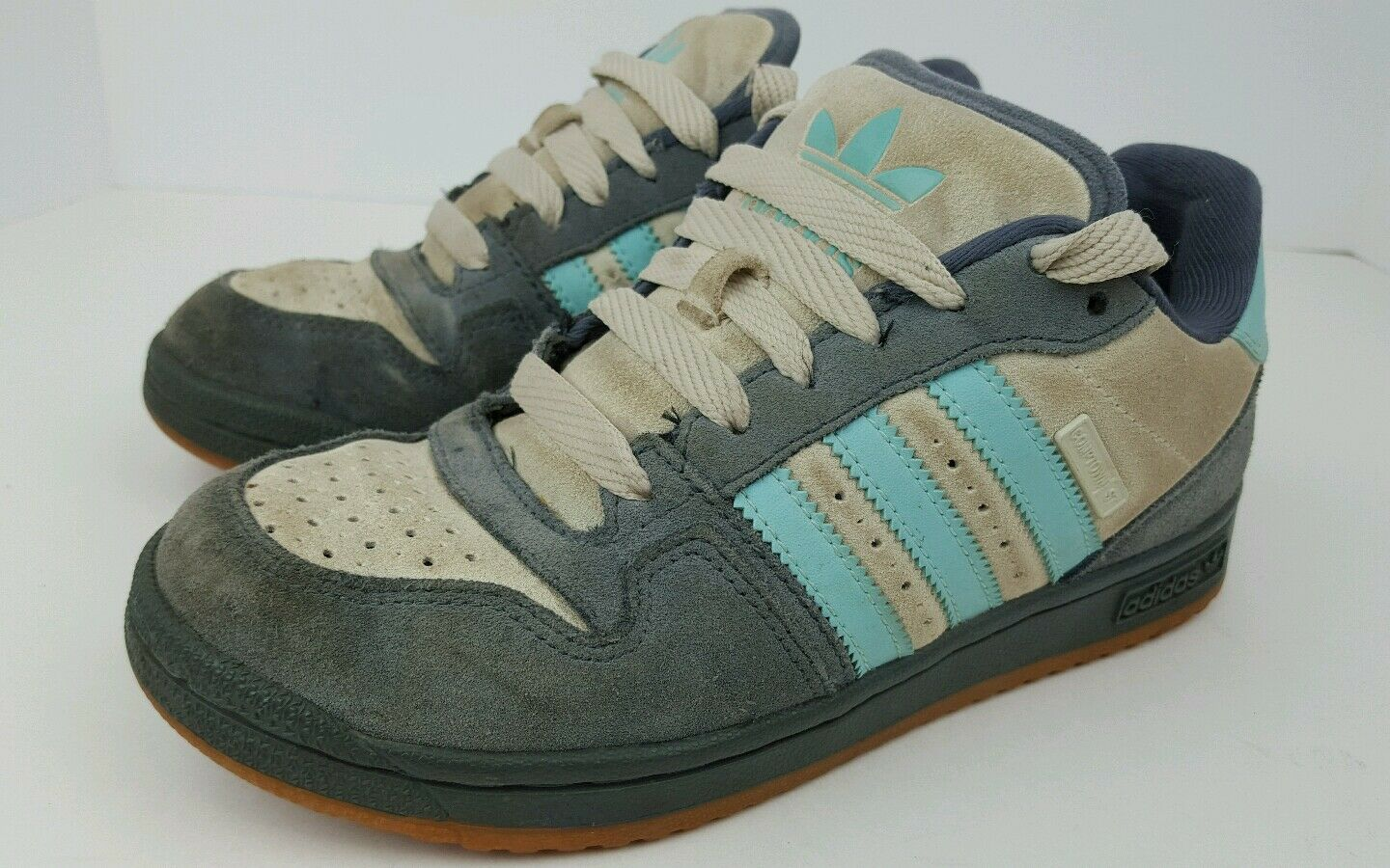Adidas Womens Size 6.5 Comtown St Gray Blue Cream Suede Low Skater Shoes Hipster