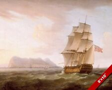 BRITISH MAN OF WAR ROYAL NAVY SHIP AT GIBRALTAR PAINTING REAL CANVAS ART PRINT