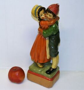 Antique-Art-Deco-Figurine-Plaster-Chalkware-Hugging-Girl-amp-Boy-Statue-13-034-Tall