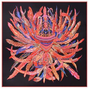"Women/'s Red Blanket Scarf Vintage Scepter Cane Print Large Shawl Scarves 51/""*51/"""