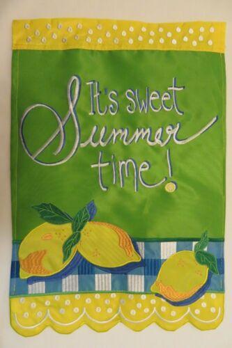 """/""""It/'s sweet Summer time!/"""" Fresh Lemons Blue Gingham checks applique HOUSE flag"""