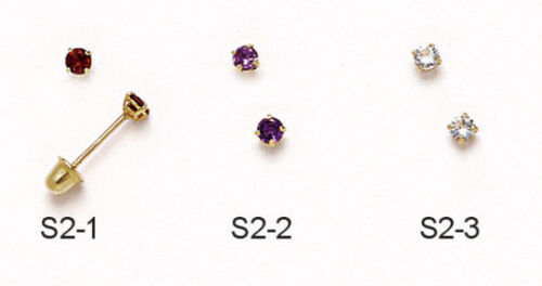 Multiple Colors//Birthstones 14K Yellow Gold Round Cut 2.5MM Stud Earrings