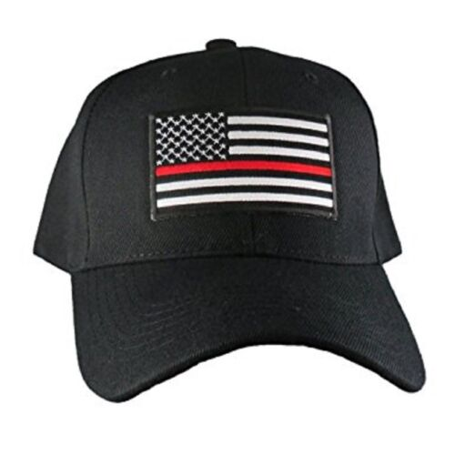 Lot of 6 Thin Red Line USA Fire Department American Black Embroidered Cap Hat