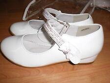 Holy Communion / Bridesmaid / Party Girls White Patent Shoes Size UK 1 - 2